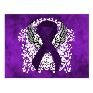 Purple Ribbon with Wings Postcard