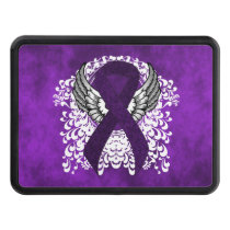 Purple Ribbon with Wings Tow Hitch Cover