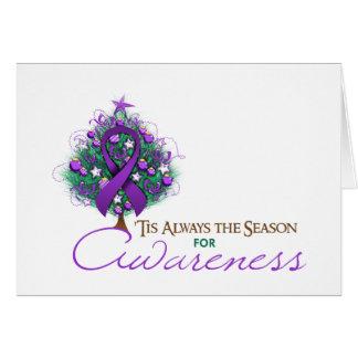 Purple Ribbon Xmas Awareness Season Card