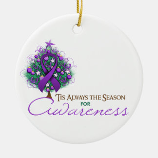 Purple Ribbon Xmas Awareness Season Ceramic Ornament