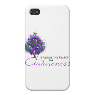 Purple Ribbon Xmas Awareness Season iPhone 4/4S Cases