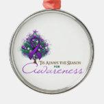 Purple Ribbon Xmas Awareness Season Round Metal Christmas Ornament