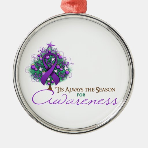 Purple Ribbon Xmas Awareness Season Christmas Ornaments