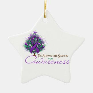 Purple Ribbon Xmas Awareness Season Christmas Tree Ornaments