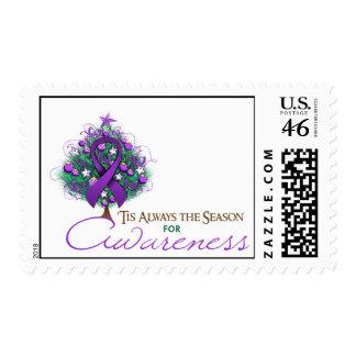 Purple Ribbon Xmas Awareness Season Stamp