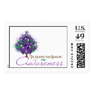 Purple Ribbon Xmas Awareness Season Postage