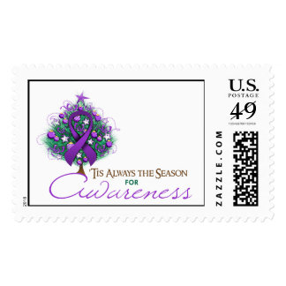 Purple Ribbon Xmas Awareness Season Stamps