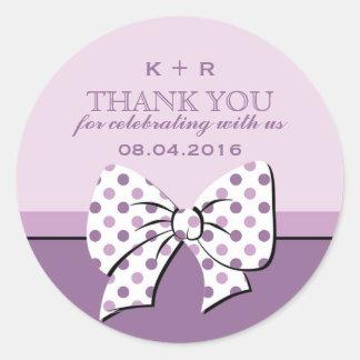 Purple Ribbons and Bows Polka Dots Wedding Sticker