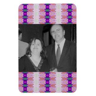 purple ribbons photoframe magnet