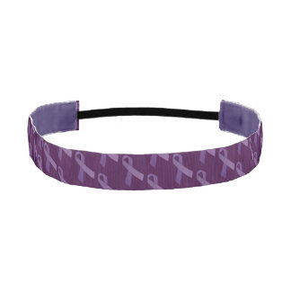Purple Ribbons Tiled  Pattern Athletic Headband