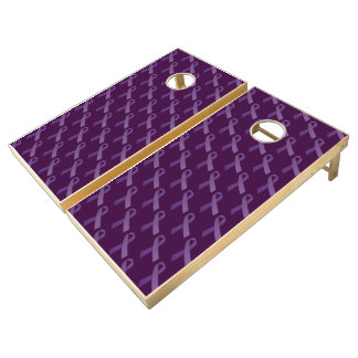 Purple Ribbons Tiled  Pattern Cornhole Set