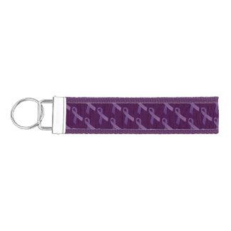 Purple Ribbons Tiled  Pattern Wrist Keychain