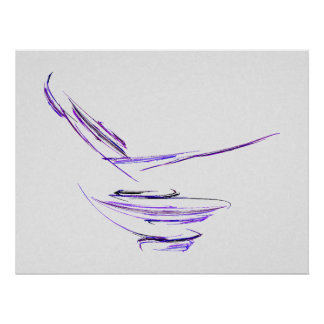 Purple Rice Bowl Abstract Art Poster