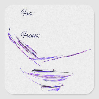 Purple Rice Bowl Abstract Art Square Sticker