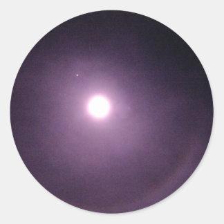 Purple rings around full moon classic round sticker
