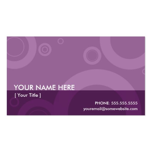 Purple rings double sided standard business cards pack of for Purple business cards