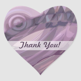 Purple Ripples Heart Sticker