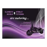 Purple road biker wedding invitation personalized invitations