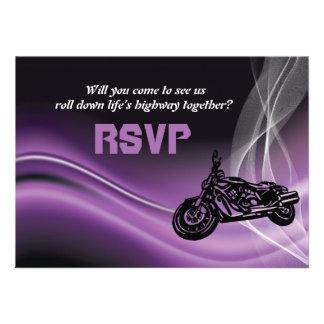 Purple road biker wedding RSVP response card Custom Invite