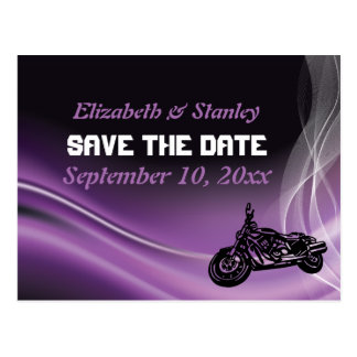 Purple road biker wedding Save the Date postcard