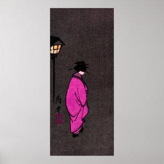 Purple Robed Geisha Girl Poster