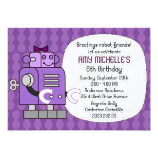 Purple Robot Birthday Girl Party Invitation