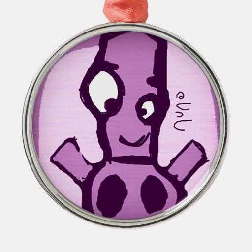 Purple Robot Ornamento