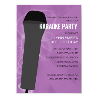 Purple Rock Out Karaoke Birthday Party Card
