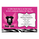 Purple Rock Star Skull Baby Shower Announcements