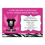 "Purple Rock Star Skull Baby Shower 5"" X 7"" Invitation Card"