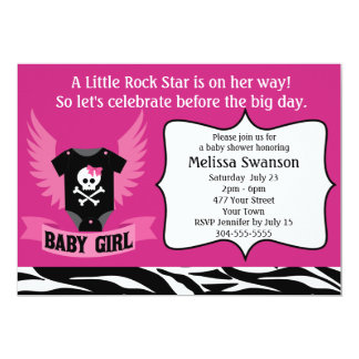 Purple Rock Star Skull Baby Shower 5x7 Paper Invitation Card