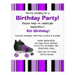 Purple Roller Skate Birthday Party - Purple Stripe Custom Announcements