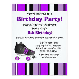 "Purple Roller Skate Birthday Party - Purple Stripe 4.25"" X 5.5"" Invitation Card"