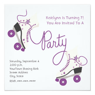 Purple Roller Skate Party Invitation