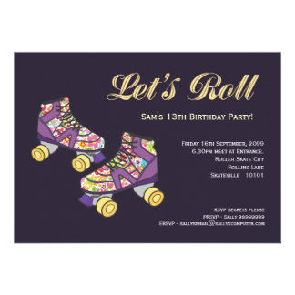 Purple Roller Skate Roller Skating Birthday Party Personalized Invitations