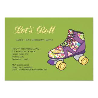 Purple Roller Skate Rollerskating Birthday Party 5x7 Paper Invitation Card