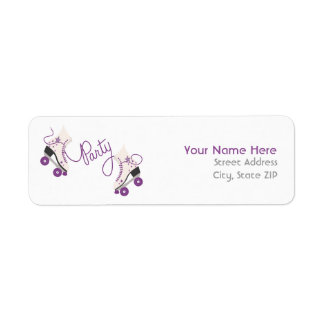 Purple Roller Skates Birthday Party Address Labels