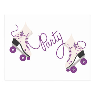 Purple Roller Skates Birthday Party Postcard