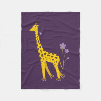 Purple Roller Skating Funny Cartoon Giraffe Fleece Blanket