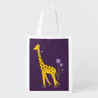 Purple Roller Skating Funny Cartoon Giraffe Grocery Bag