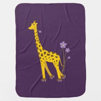 Purple Roller Skating Funny Cartoon Giraffe Receiving Blanket