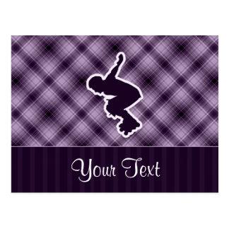 Purple Rollerblading Postcard