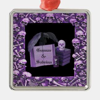 Purple Romance Skull Spellbook Wedding Christmas Ornaments