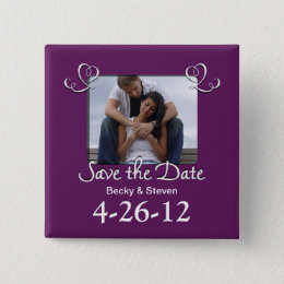 Purple Romantic Save The Date Square Button