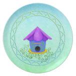 Purple Roof Birdhouse Plate