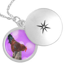 Purple Rooster Nosey Parker Design, Locket Necklace