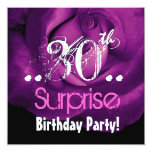 Purple Rose 30th Surprise Birthday Ver 001 5.25x5.25 Square Paper Invitation Card