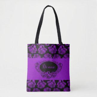Purple Rose and Black Tote Bag