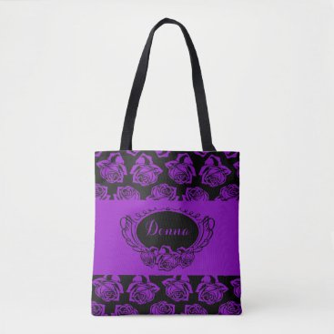 Beach Themed Purple Rose and Black Tote Bag