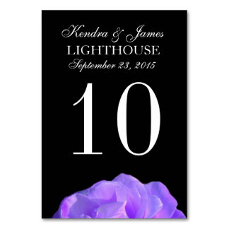 Purple Rose and Black Wedding Table Number Card Table Cards